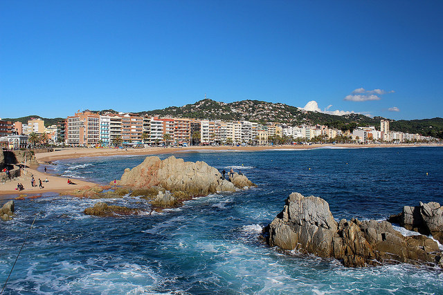 The main beach in Lloret de Mar